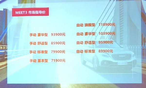 君马MEET 3正式上市 售价7.19-11.89万元